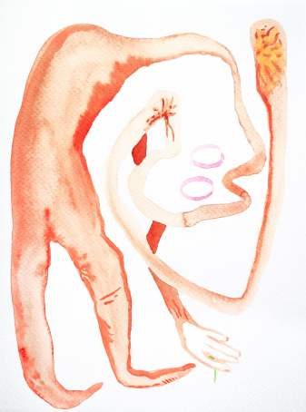 Taking Action, 2020 Watercolour on paper 24 x 18cm hvm