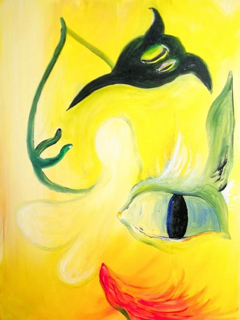 Trinity, 2021 Acrylic and spraypaint on canvas 40 x 30cm hvm